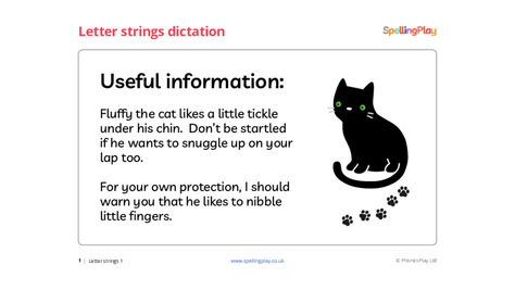 Letter strings dictation