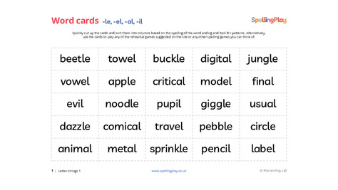 Word sorting cards: