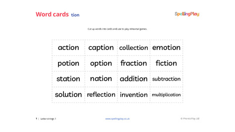Word game cards: